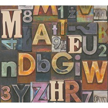 AS Création Vliestapete Il Decoro Tapete Buchstaben Puzzle beige rot lila 368711 10,05 m x 0,53 m