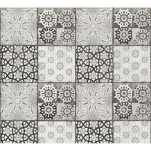 AS Création Vliestapete Il Decoro Tapete in mediterraner Fliesen Optik weiß schwarz grau 368954 10,05 m x 0,53 m