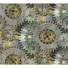 AS Création Vliestapete Il Decoro Tapete mit fotorealistischen Zahnrädern grau metallic 358592 10,05 m x 0,53 m