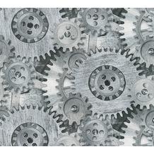 AS Création Vliestapete Il Decoro Tapete mit fotorealistischen Zahnrädern grau metallic 358591 10,05 m x 0,53 m