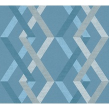 AS Création Vliestapete Linen Style Tapete geometrisch grafisch beige blau grau 367594 10,05 m x 0,53 m