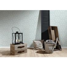 AS Création Vliestapete Linen Style Tapete geometrisch grafisch beige blau grau 10,05 m x 0,53 m
