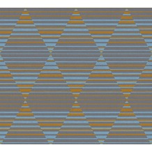 AS Création Vliestapete Linen Style Tapete geometrisch grafisch blau grau orange 367573 10,05 m x 0,53 m