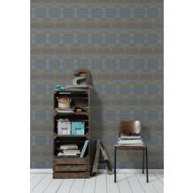 AS Création Vliestapete Linen Style Tapete geometrisch grafisch blau grau orange 10,05 m x 0,53 m