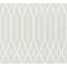 AS Création Vliestapete Linen Style Tapete geometrisch grafisch grau weiß 366321 10,05 m x 0,53 m