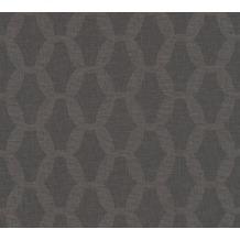 AS Création Vliestapete Linen Style Tapete geometrisch grafisch schwarz 366384 10,05 m x 0,53 m