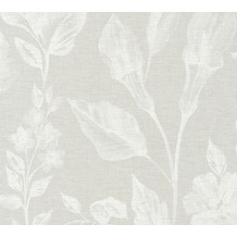 AS Création Vliestapete Linen Style Tapete mit Blätter Muster beige grau weiß 366363 10,05 m x 0,53 m