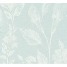 AS Création Vliestapete Linen Style Tapete mit Blätter Muster blau weiß 366362 10,05 m x 0,53 m