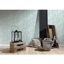 AS Création Vliestapete Linen Style Tapete mit Blätter Muster blau weiß 10,05 m x 0,53 m