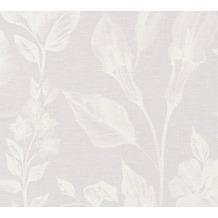 AS Création Vliestapete Linen Style Tapete mit Blätter Muster lila weiß 366361 10,05 m x 0,53 m