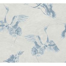 AS Création Vliestapete Linen Style Tapete mit Vögeln blau grau 366312 10,05 m x 0,53 m