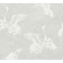 AS Création Vliestapete Linen Style Tapete mit Vögeln grau weiß 366311 10,05 m x 0,53 m
