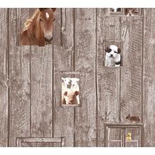 AS Création Vliestapete Little Stars Ökotapete PVC-frei braun bunt 358422 10,05 m x 0,53 m