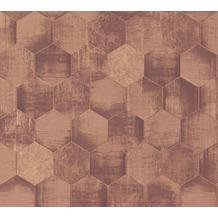 AS Création Vliestapete Materials Tapete in grafischer Vintage Optik metallic braun 363305 10,05 m x 0,53 m