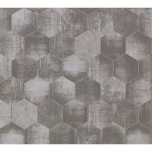 AS Création Vliestapete Materials Tapete in grafischer Vintage Optik metallic grau beige 363302 10,05 m x 0,53 m