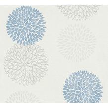AS Création Vliestapete mit Glitter Blooming floral metallic blau grau 372642 10,05 m x 0,53 m