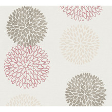 AS Création Vliestapete mit Glitter Blooming floral metallic creme rot 372644 10,05 m x 0,53 m