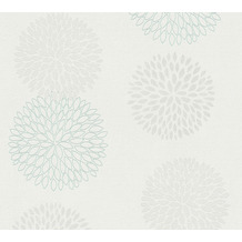 AS Création Vliestapete mit Glitter Blooming floral metallic weiß grau 372641 10,05 m x 0,53 m