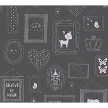 AS Création Vliestapete mit Glitter Boys & Girls 6 grau metallic rosa 369913