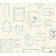 AS Création Vliestapete Glitter Boys & Girls 6 Tapete mit Bilderrahmen grau rosa weiß 369911 10,05 m x 0,53 m