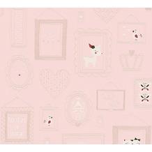 AS Création Vliestapete mit Glitter Boys & Girls 6 Tapete mit Bilderrahmen rosa rot weiß 369912 10,05 m x 0,53 m