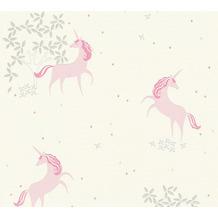 AS Création Vliestapete Glitter Boys & Girls 6 Tapete Einhörner Unicorn grau rosa weiß 369891