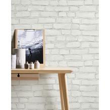 AS Création Vliestapete Neue Bude 2.0 Edition 2 Tapete Stones & Structure in Vintage Backstein Optik weiß grau 10,05 m x 0,53 m