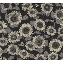 AS Création Vliestapete New Life Blumentapete schwarz anthrazit grau beige 376854 10,05 m x 0,53 m