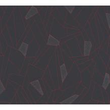 AS Création Vliestapete New Life geometrische Tapete anthrazit grau rot 376773 10,05 m x 0,53 m