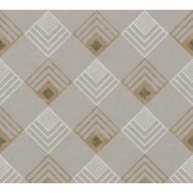 AS Création Vliestapete New Life geometrische Tapete grau beige weiß anthrazit 376823 10,05 m x 0,53 m