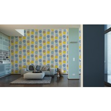 AS Création Vliestapete Pop Colors Tapete blau braun gelb 10,05 m x 0,53 m