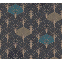 AS Création Vliestapete Pop Style Art Deco Tapete blau schwarz metallic 374833 10,05 m x 0,53 m