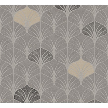 AS Création Vliestapete Pop Style Art Deco Tapete grau beige braun 374832 10,05 m x 0,53 m