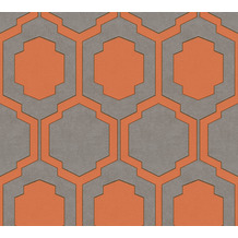 AS Création Vliestapete Pop Style geometrische Tapete grau beige orange 374793 10,05 m x 0,53 m