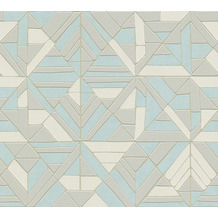 AS Création Vliestapete Pop Style Retrotapete metallic blau grau 374813 10,05 m x 0,53 m