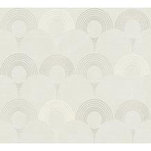 AS Création Vliestapete Pop Style Retrotapete metallic weiß grau 374801 10,05 m x 0,53 m