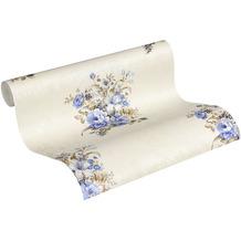 AS Création Vliestapete Romantico Tapete romantisch floral creme blau braun 10,05 m x 0,53 m