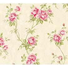 AS Création Vliestapete Romantico Tapete romantisch floral creme grün rot 372261 10,05 m x 0,53 m