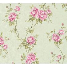 AS Création Vliestapete Romantico Tapete romantisch floral grün rosa 372264 10,05 m x 0,53 m