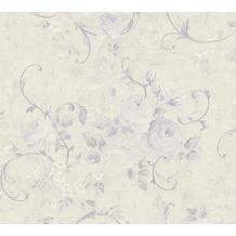 AS Création Vliestapete Romantico Tapete romantisch floral lila creme metallic 372245 10,05 m x 0,53 m