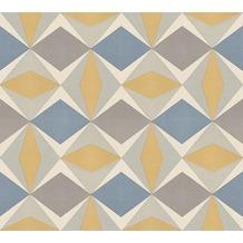 AS Création Vliestapete Scandinavian 2 Tapete geometrisch grafisch blau gelb grau 957662 10,05 m x 0,53 m
