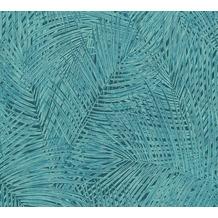 AS Création Vliestapete Sumatra Tapete mit Palmenblättern blau grün 373716 10,05 m x 0,53 m