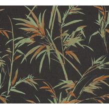 AS Création Vliestapete Sumatra Tapete mit Palmenblättern schwarz grün orange 373763 10,05 m x 0,53 m