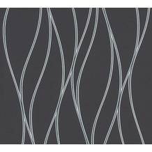 AS Création Vliestapete Trendwall Tapete gestreift grau metallic schwarz 371324 10,05 m x 0,53 m