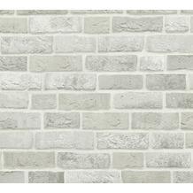 AS Création Vliestapete Trendwall Tapete in Backstein Optik grau weiß 371601 10,05 m x 0,53 m