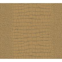AS Création Vliestapete Trendwall Tapete in Kroko Optik metallic schwarz 371010 10,05 m x 0,53 m