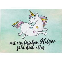 Astra Türmatte Happy Home D. 007 Einhorn Glitzer türkis 50x70 cm