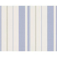 Avenzio Streifentapete, Vliestapete, taubenblau, reinweiß, grauweiß 10,05 m x 0,53 m