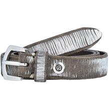 b.belt Gürtel Leder 100 cm anthrazit grau silber