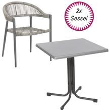 acamp Tisch piazza 80x80cm + 2 Sessel